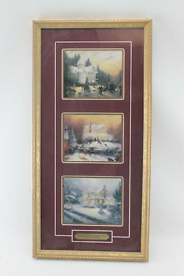 Thomas Kinkade Victorian Christmas Past Framed 3 Painting Collection w/ COA