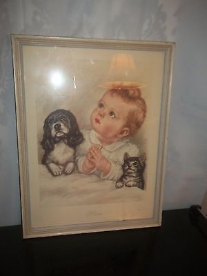 Vintage Art Framed Print-PLEASE-Baby Child Praying Puppy Kitten Bed  17 x 13