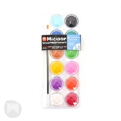 Micador Stylist Watercolour Paint Set 12 With Brush MWCP12C