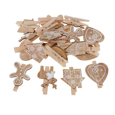 20Pcs vintage wooden mini pegs craft wood colour photo hanging spring clips