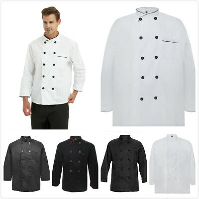 TopTie Long Sleeve Chef Coat Jacket 10 Buttons Black White Uniform Men Women