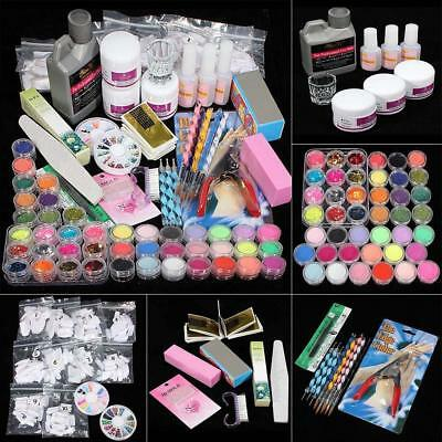 New Acrylic Powder Glitter Nail Brush False Finger Pump Nail Art Tool Kit Set TR