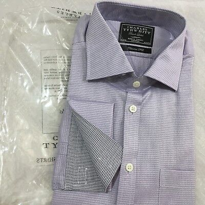 """CHARLES TYRWHITT Shirt 16"""" 41cm BLACK LABEL Tailored Fit Contrast Double Cuff"""