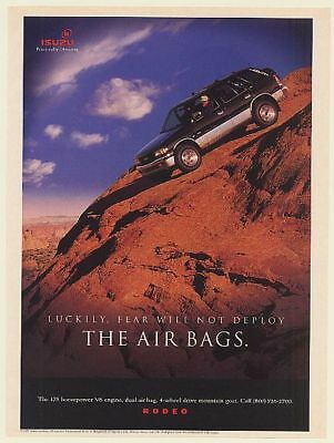 1995 Isuzu Rodeo Drives Down Mountain Fear Will Not Deploy the Air Bags Print Ad