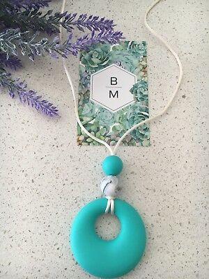 Silicone Sensory Necklace for Mum Gift Round (was Teething) Aus Turquoise
