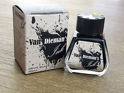 Van Dieman's Fountain Pen Ink Devil Black 30ml Bottle