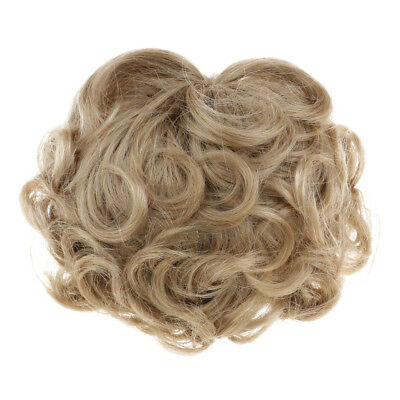 Trendy Short Curly Wig Haircut forUncle Doll DIY Dress Accessory Light Brown