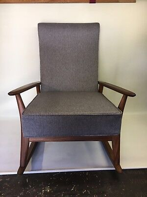 Retro Vintage 1960's Danish Style Refurbished Rocking Chair In Grey Herringbone