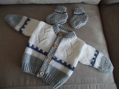 unique hand knitted baby boys cardigan and bootees 0 to 3 months
