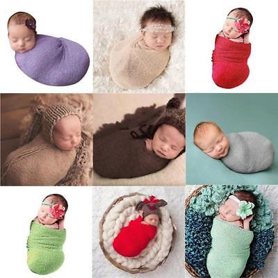 Newborn Baby Toddler Photography Photo Prop Stretch Wrap Knit Swaddle Blanket FW