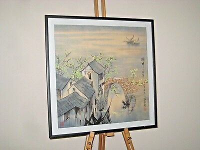 Original 20th Century Chinese Watercolour Painting Coastal Scene Signed Framed