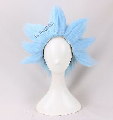 Rick And Morty Wig Short Cosplay Halloween Costume Light Blue Wig Styled