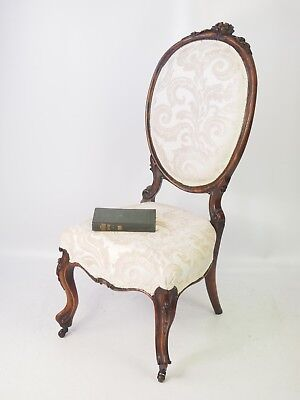 Antique Victorian Walnut Dressing Table Chair - Balloon Spoon Back Bedroom Seat