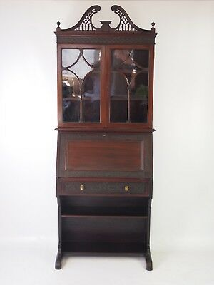 Edwardian Mahogany Bureau Bookcase - Georgian Revival Bureaux Writing Desk