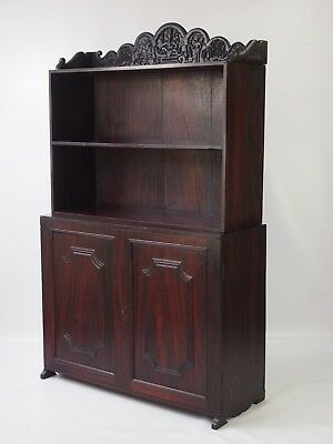 Antique Anglo Indian Rosewood Dresser Ganesh Carved - Cabinet Cupboard Bookcase
