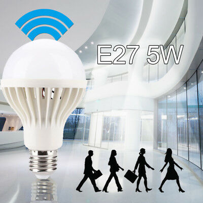Auto PIR Motion Detection LED Bulb Sound Sensor E27 5W Body Detection SMD 5730