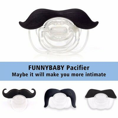 Novelty Infant Baby Pacifier Orthodontic Nipples Dummy Mustache Beard Soother UK