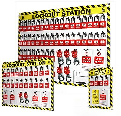 Reece Safety Lockout Station Fully Stocked Tagout Kit Padlock Hasps Board Wall