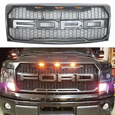 2009-2014 Ford F-150 F150 Grill Raptor Style MATTE GRAY OE Grille w/F+R 3 Light