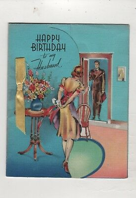 vtg 1930s mult-fold Greeting Birthday Husband Card Wife look rooms oven living
