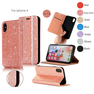 Bling Glitter Leather Flip Case Silicone Cover Wallet for iPhone X 6s 7 8 Plus