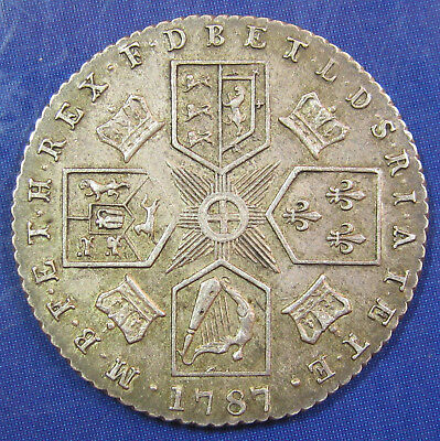 1787 6d George III silver Sixpence, no Hearts - high grade