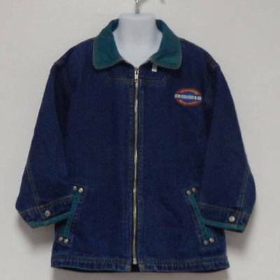 Vintage Boys Levi's Denim Barn Jacket Coat Size 7 Corduroy Trim Farmer Jean