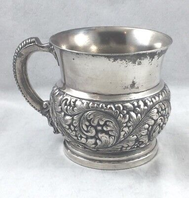 Barbour Bros Co. Quadruple Silver Plate Repoussed Baby Cup