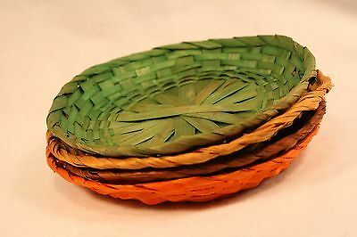 Paper Plate Holders Colored 8 inch Wicker Rattan Orange Green Lot 4