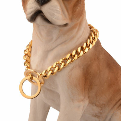 Gold Plated 316L Stainless Steel Curb Cuban Chain Dog Collar Multiple size