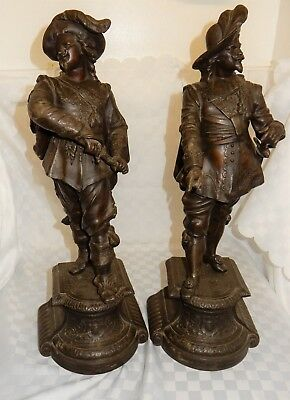 Large Pair of French Spelter Cavalier Figures Late C19th 52cm