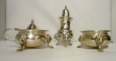 Antique Silver Plate Cruet William Batt and Sons Sheffield Lion Mask and Paw