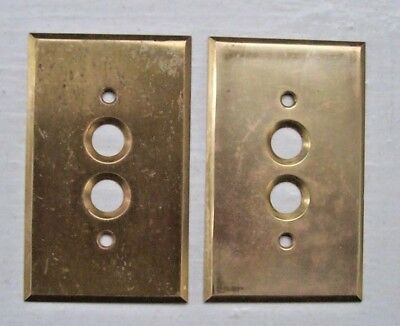 Pair Solid Brass Push Button Wall Light Switch Cover Plate Perkins USA