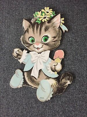 VTG Dolly Toy Co Kitty Cat Wall Pin Up Kitten Decor Eating Ice Cream 1965 Nursey