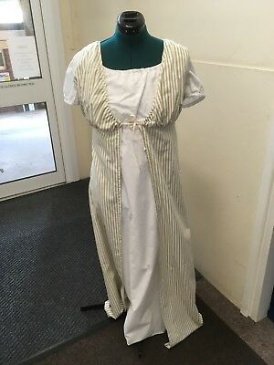 Regency Style Double Gown - Off White Cotton Under-gown With Striped Over-gown