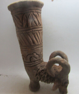 Ancient Greek Decorated Terracotta Rhyton With Rams Head Rare