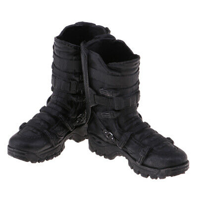 1/6 Scale Man Black High Ankle Boots for 12'' Action Figure Phicen Kumik Toy
