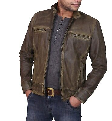 Retro Triple Stitched Antique Style Real Distressed Cowhide Leather Jacket