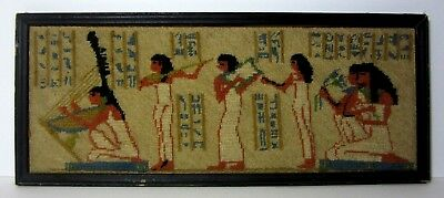 - Old Vintage Antique Needlepoint Tapestry Picture in Frame EGYPTIAN REVIVAL