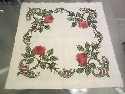 Antique Arts & and Crafts Linen Embroidered Table Topper / Runner Tablecloth