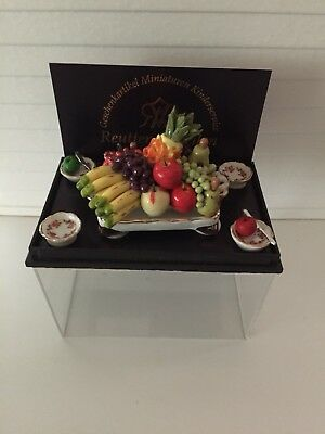 Dollhouse Miniatures Reutter Porcelain Large Tray of Fruit, New, 1:12