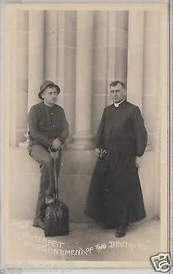 """RPPC - """"The Counterfeit Presentment of Two Brothers"""" - early 1900s"""