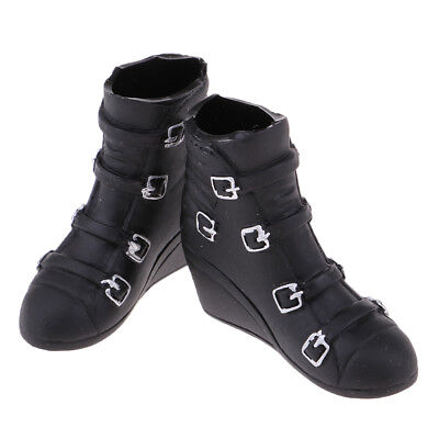 1/6 Scale Female Black Wedge Heel Ankle Boots for 12'' Phicen Hot Doll