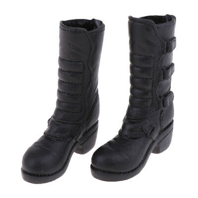 1/6 Female Low-heeled Knee Boots Black for 12'' Phicen Kumik Doll