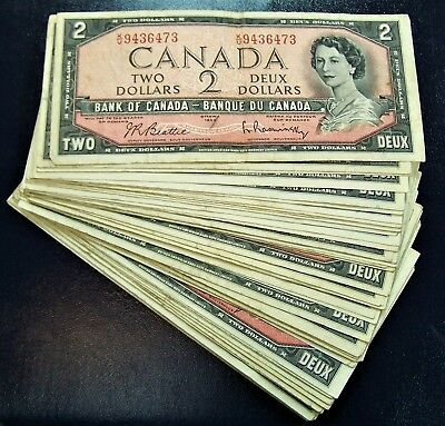 BANK OF CANADA 1954 $2 NOTES BC-38b  notes   Fine+ to  Very-Fine+ *5 PCS LOT*