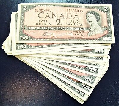 BANK OF CANADA 1954 $2 NOTES BC-38c  notes   Fine+ to  Very-Fine+ *5 PCS LOT*