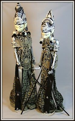 """Pair of Balinese Wayang Golek Puppets"" (Male, 27.5"" High) ( Female, 26"" High)"