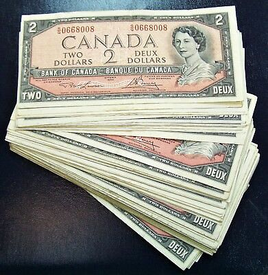 BANK OF CANADA 1954 $2 NOTES BC-38d  notes   Fine+ to  Very-Fine+ *5 PCS LOT*