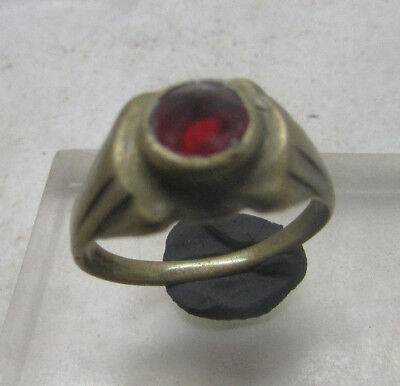 Lovely Post Medieval Bronze Ring With Faceted Glass Insert