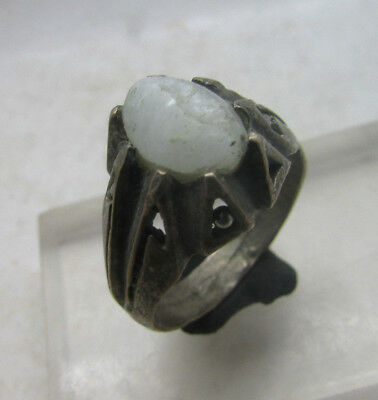 Lovely Post Medieval Decorated Silvered Bronze Ring With Stone Insert